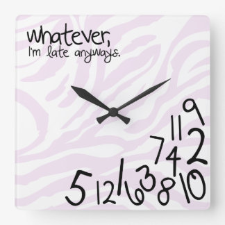 whatever, i'm late anyways with zebra stripes square wall clock
