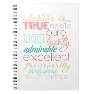 whatever is true notebook- coral pink aqua blue notebook