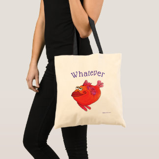 Whatever Whimsical Fish Art Pink and Red Tote Bag