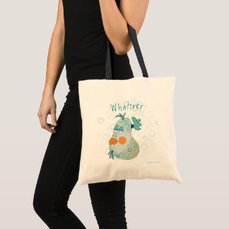 Whatever Whimsical Fish Art Teal and Yellow Tote Bag