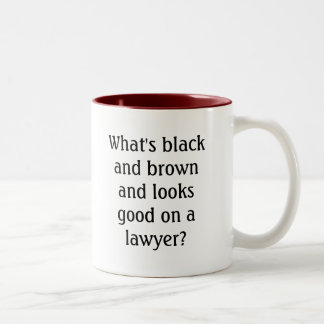 What's black and brown and looks good on a lawy... Two-Tone coffee mug