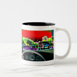 What's in your mug? - car view Two-Tone coffee mug