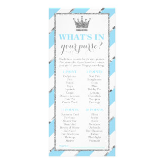 What's In Your Purse? Baby Shower Game Faux Silver Rack Card