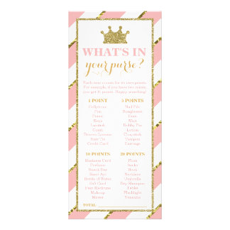 What's In Your Purse? Baby Shower Game, Princess Rack Card