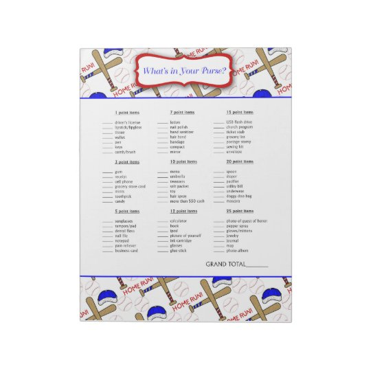 What's in your purse Baseball Baby Shower Game Notepad