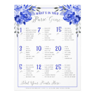 Whats In Your Purse Bridal Shower Game Blue Silver Flyer