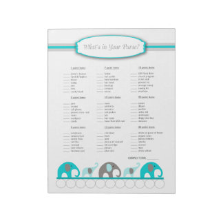 What's in your purse Elephant Baby Shower Game Notepad