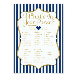 What's In Your Purse Game Navy Blue Gold Shower Card