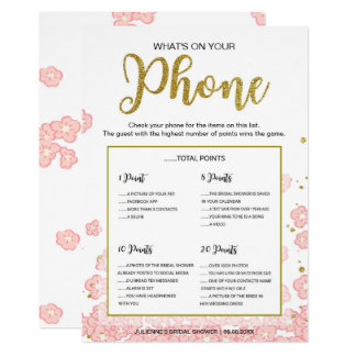 What's on Your Phone Game | Pink and Gold Glitter Card