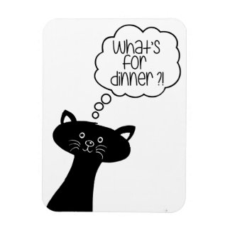 What's or dinner? Cute Black Cat Photo Magnet