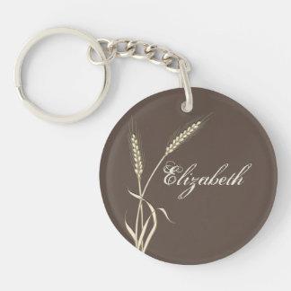 Wheat country wedding single grass Single-Sided round acrylic keychain