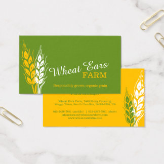 Wheat ears grain farm green yellow business cards