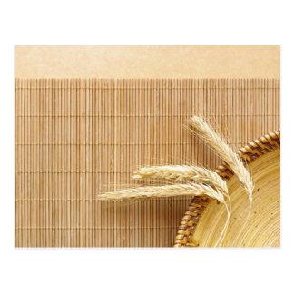 Wheat Ears On Wooden Plate Postcard