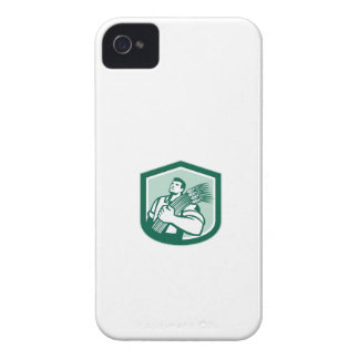 Wheat Farmer Looking Up Shield Retro iPhone 4 Case-Mate Cases