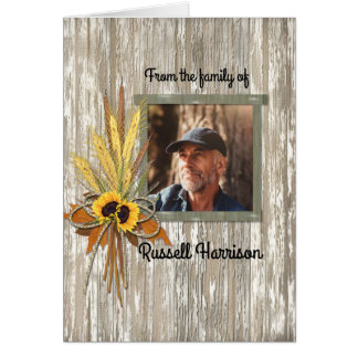 Wheat Farmer Photo Sympathy Thank You Memorial Card
