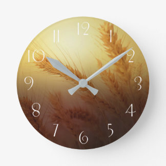 Wheat Field Round Clock