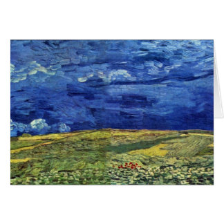 Wheat Field Under Clouded Sky By Vincent Van Gogh Card
