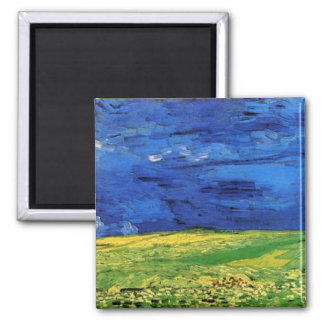 Wheat Field Under Clouded Sky by Vincent van Gogh Magnet