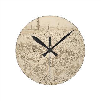 Wheat Field - Van Gogh Round Clock