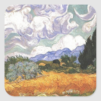 Wheat Field with Cypress by Van Gogh. Square Sticker
