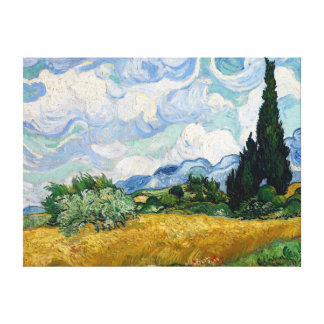 Wheat Field with Cypresses Canvas