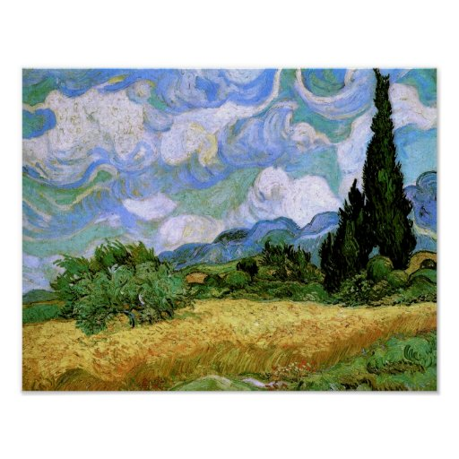 Wheat Field with Cypresses (F717),Vincent van Gogh Print