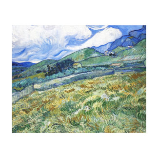 Wheat Field with Mountains by van Gogh Canvas Print