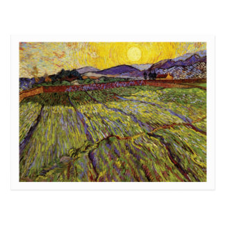 Wheat Field with Rising Sun by Vincent van Gogh Postcard