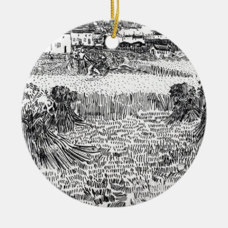 Wheat Field with Sheaves and Arles Vincent Gogh Round Ceramic Ornament