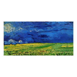 Wheat Fields Under Clouded Sky Van Gogh Poster