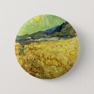Wheat Fields with Reaper at Sunrise - Van Gogh 2 Inch Round Button