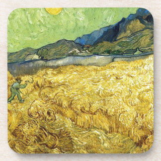 Wheat Fields with Reaper at Sunrise - Van Gogh Beverage Coasters