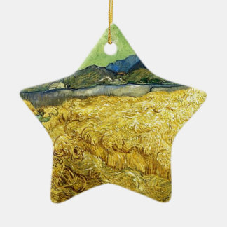 Wheat Fields with Reaper at Sunrise - Van Gogh Ceramic Ornament