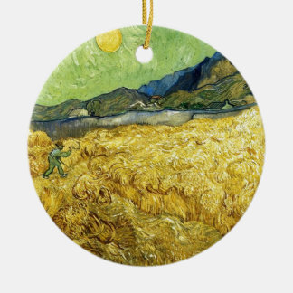 Wheat Fields with Reaper at Sunrise - Van Gogh Ceramic Ornament
