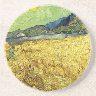 Wheat Fields with Reaper at Sunrise - Van Gogh Drink Coaster
