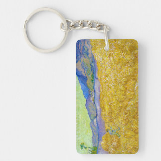 Wheat Fields with Reaper at Sunrise Van Gogh Double-Sided Rectangular Acrylic Keychain