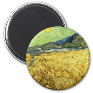 Wheat Fields with Reaper at Sunrise - Van Gogh Magnet