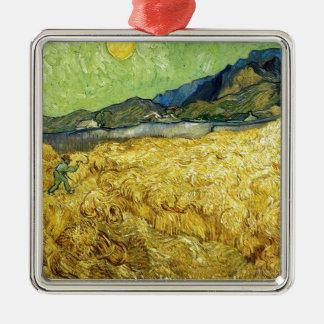 Wheat Fields with Reaper at Sunrise - Van Gogh Metal Ornament