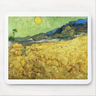 Wheat Fields with Reaper at Sunrise - Van Gogh Mouse Pad