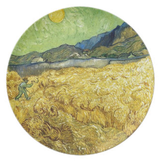 Wheat Fields with Reaper at Sunrise - Van Gogh Party Plate