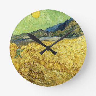 Wheat Fields with Reaper at Sunrise - Van Gogh Round Clock