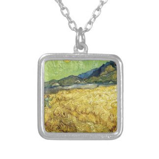 Wheat Fields with Reaper at Sunrise - Van Gogh Silver Plated Necklace