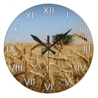 Wheat Harvest Combine Roman Numerals Large Clock