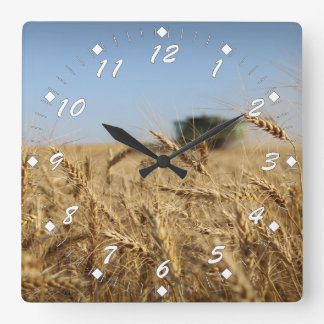 Wheat Harvest Green Combine Square Wall Clock