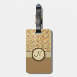 Wheat Sand Coin Pattern with Monogram Luggage Tag