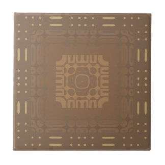 Wheat Square Geometric 2 Ceramic Tile