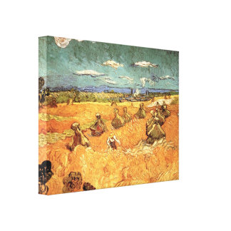 Wheat Stacks with Reaper by Vincent van Gogh Canvas Print