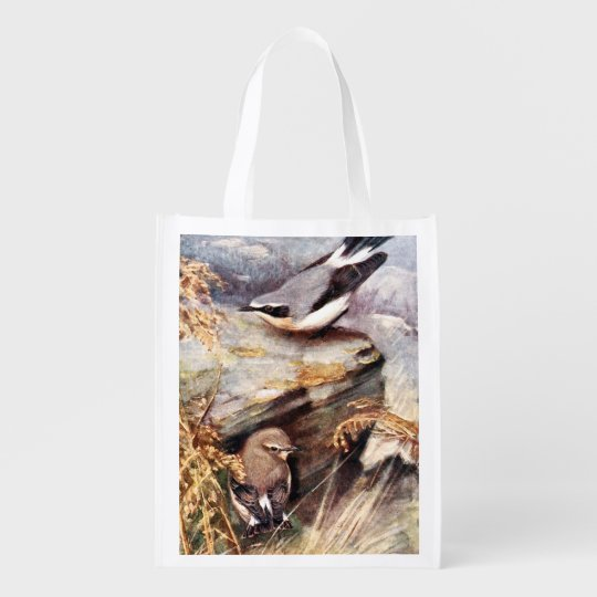 Wheatear Birds Painting Grocery Bag