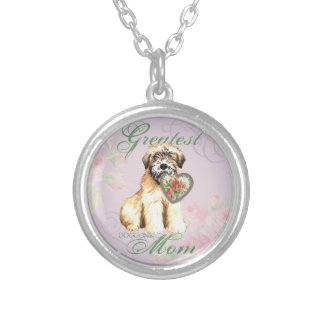 Wheaten Hearts Mom Silver Plated Necklace