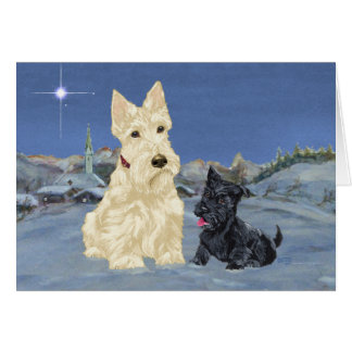 Wheaten Scottie and Pup Christmas Card